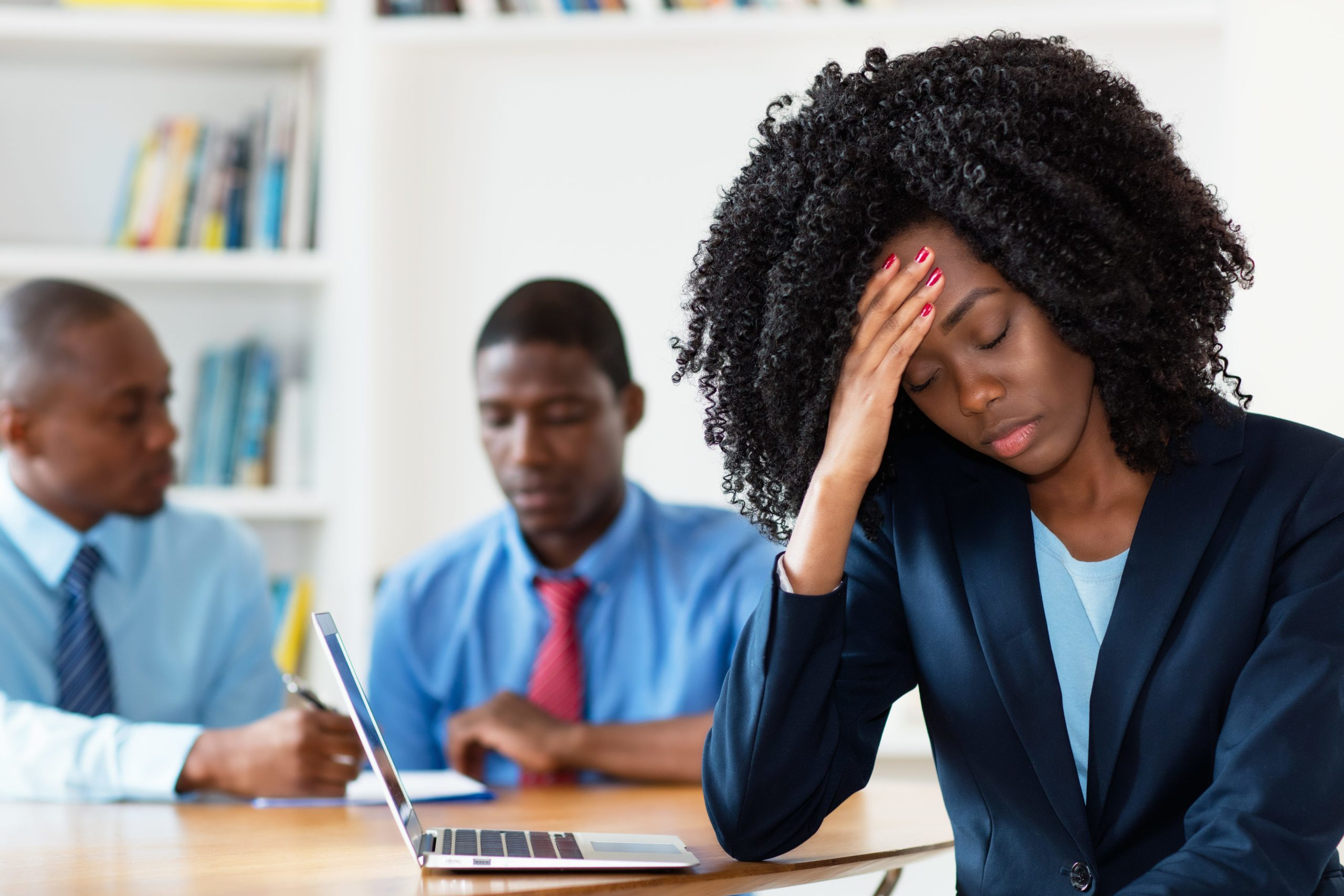 A young business woman laments how a hostile work environment is damaging her heath and career prospects.